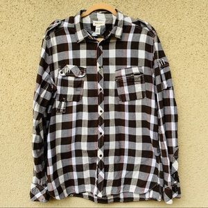 Diesel button down plaid flannel size XL brown